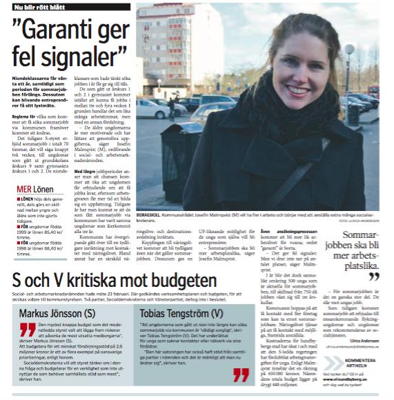 Vi i Sundbyberg artikel sommarjobb 5 mars 2016