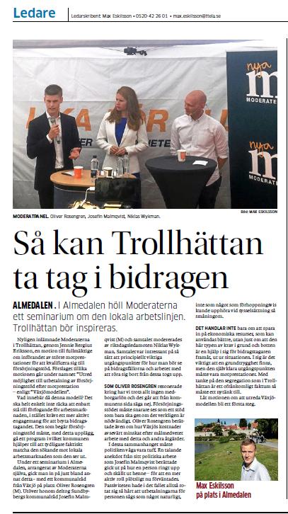 2018-07-04 Artikel Trollhättan om bidrag
